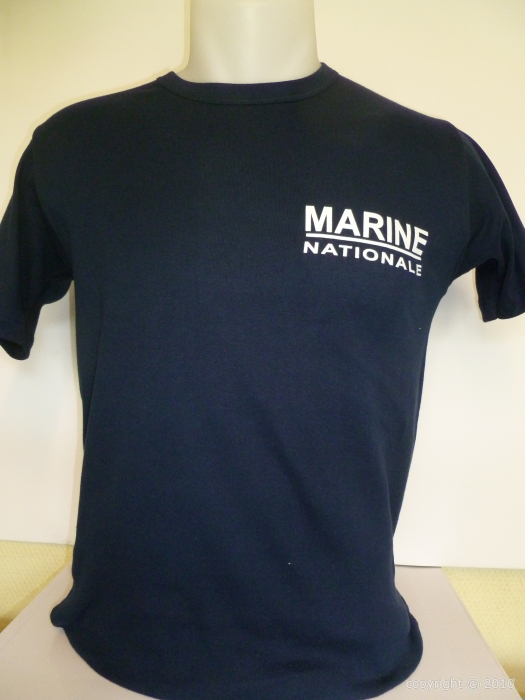 t shirt bleu criture marine nationale. Black Bedroom Furniture Sets. Home Design Ideas