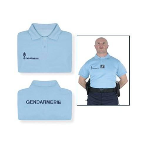 polo manches courtes de la gendarmerie nationale, broderie coeur et dos
